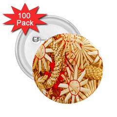 Christmas Straw Xmas Gold 2 25  Buttons (100 Pack)