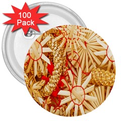 Christmas Straw Xmas Gold 3  Buttons (100 pack)