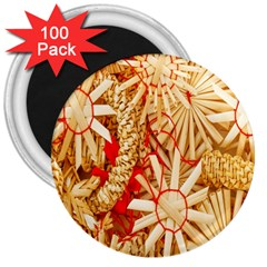 Christmas Straw Xmas Gold 3  Magnets (100 pack)