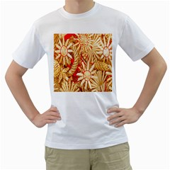 Christmas Straw Xmas Gold Men s T Shirt (white) (two Sided)