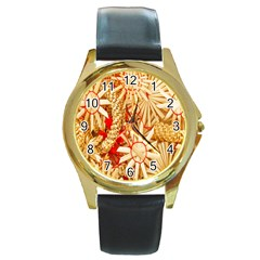 Christmas Straw Xmas Gold Round Gold Metal Watch