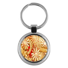 Christmas Straw Xmas Gold Key Chains (round)