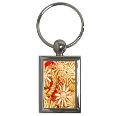 Christmas Straw Xmas Gold Key Chains (Rectangle)