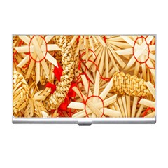 Christmas Straw Xmas Gold Business Card Holders