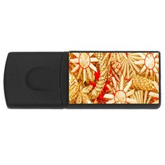 Christmas Straw Xmas Gold USB Flash Drive Rectangular (2 GB)
