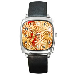 Christmas Straw Xmas Gold Square Metal Watch