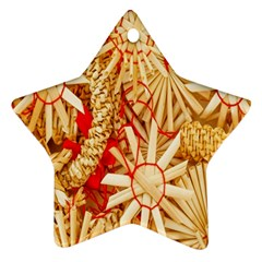 Christmas Straw Xmas Gold Star Ornament (two Sides)