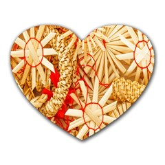 Christmas Straw Xmas Gold Heart Mousepads