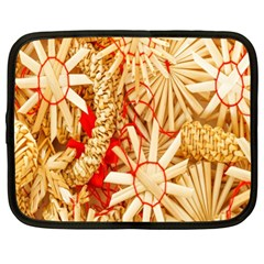 Christmas Straw Xmas Gold Netbook Case (XL)