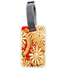 Christmas Straw Xmas Gold Luggage Tags (Two Sides)