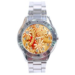 Christmas Straw Xmas Gold Stainless Steel Analogue Watch