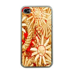 Christmas Straw Xmas Gold Apple iPhone 4 Case (Clear)