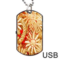 Christmas Straw Xmas Gold Dog Tag USB Flash (One Side)