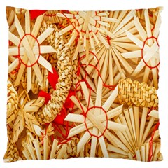 Christmas Straw Xmas Gold Large Cushion Case (two Sides)
