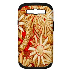 Christmas Straw Xmas Gold Samsung Galaxy S III Hardshell Case (PC+Silicone)