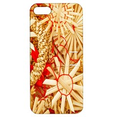Christmas Straw Xmas Gold Apple iPhone 5 Hardshell Case with Stand