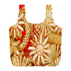 Christmas Straw Xmas Gold Full Print Recycle Bags (l)