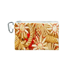 Christmas Straw Xmas Gold Canvas Cosmetic Bag (s)
