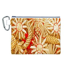 Christmas Straw Xmas Gold Canvas Cosmetic Bag (L)