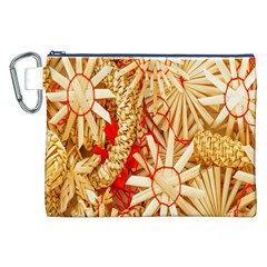 Christmas Straw Xmas Gold Canvas Cosmetic Bag (XXL)