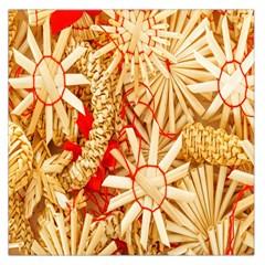 Christmas Straw Xmas Gold Large Satin Scarf (square)