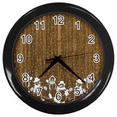 Christmas Snowmen Rustic Snow Wall Clocks (black)