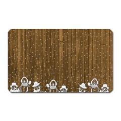 Christmas Snowmen Rustic Snow Magnet (rectangular)