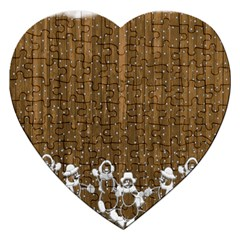 Christmas Snowmen Rustic Snow Jigsaw Puzzle (Heart)