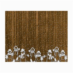 Christmas Snowmen Rustic Snow Small Glasses Cloth