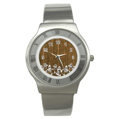 Christmas Snowmen Rustic Snow Stainless Steel Watch