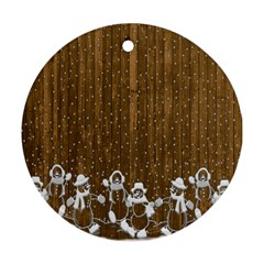 Christmas Snowmen Rustic Snow Round Ornament (Two Sides)
