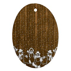 Christmas Snowmen Rustic Snow Oval Ornament (Two Sides)