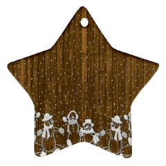 Christmas Snowmen Rustic Snow Star Ornament (Two Sides)