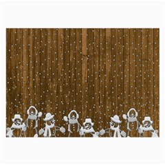 Christmas Snowmen Rustic Snow Large Glasses Cloth