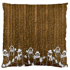 Christmas Snowmen Rustic Snow Large Cushion Case (two Sides)
