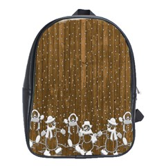 Christmas Snowmen Rustic Snow School Bags (xl)