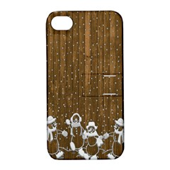 Christmas Snowmen Rustic Snow Apple iPhone 4/4S Hardshell Case with Stand