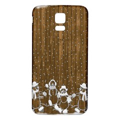 Christmas Snowmen Rustic Snow Samsung Galaxy S5 Back Case (white)