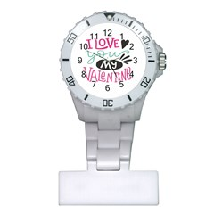I Love You My Valentine (white) Our Two Hearts Pattern (white) Plastic Nurses Watch