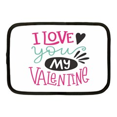 I Love You My Valentine (white) Our Two Hearts Pattern (white) Netbook Case (medium)