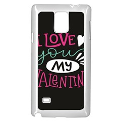 I Love You My Valentine / Our Two Hearts Pattern (black) Samsung Galaxy Note 4 Case (white)
