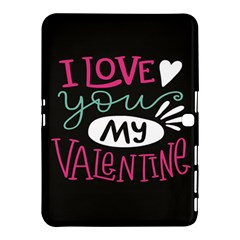 I Love You My Valentine / Our Two Hearts Pattern (black) Samsung Galaxy Tab 4 (10 1 ) Hardshell Case