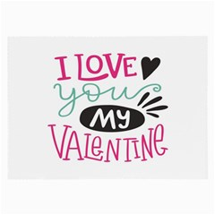 I Love You My Valentine / Our Two Hearts Pattern (white) Large Glasses Cloth