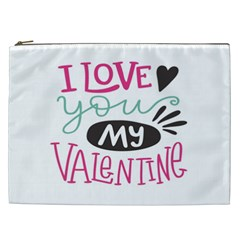I Love You My Valentine / Our Two Hearts Pattern (white) Cosmetic Bag (xxl)