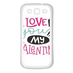 I Love You My Valentine / Our Two Hearts Pattern (white) Samsung Galaxy S3 Back Case (white)