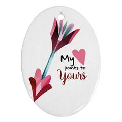 My Heart Points To Yours / Pink And Blue Cupid s Arrows (white) Oval Ornament (two Sides)