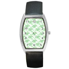 Saint Patrick Motif Pattern Barrel Style Metal Watch