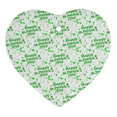 Saint Patrick Motif Pattern Heart Ornament (Two Sides)