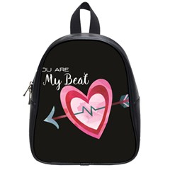 You Are My Beat / Pink And Teal Hearts Pattern (black)  School Bags (small)