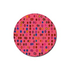 Circles Abstract Circle Colors Rubber Round Coaster (4 pack)